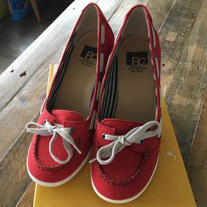 BC Footwear Red Milkshake Wedge Boat Shoe